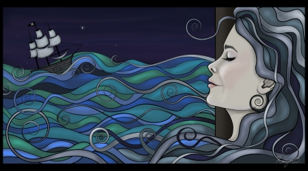 Digital Illustration of a woman and the sea