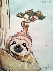watercolour of sloth with treehouse on his head