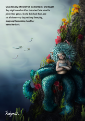Childrens Book illustration sad octopus girl sits alone
