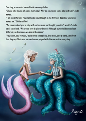 A friendly mermaid and an octopus girl shake hands and become friends