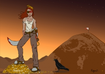 a buccaneer and her pet crow in a desert