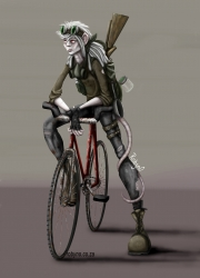 Illustration of a post-apocalyptic humanoid rat character