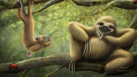 Digital Illustration of Stoner sloth and Shrooming Kinkajou