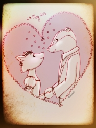 illustration of a fox and badger in love