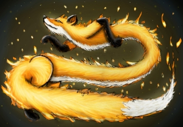 A digital painting of a fire fox