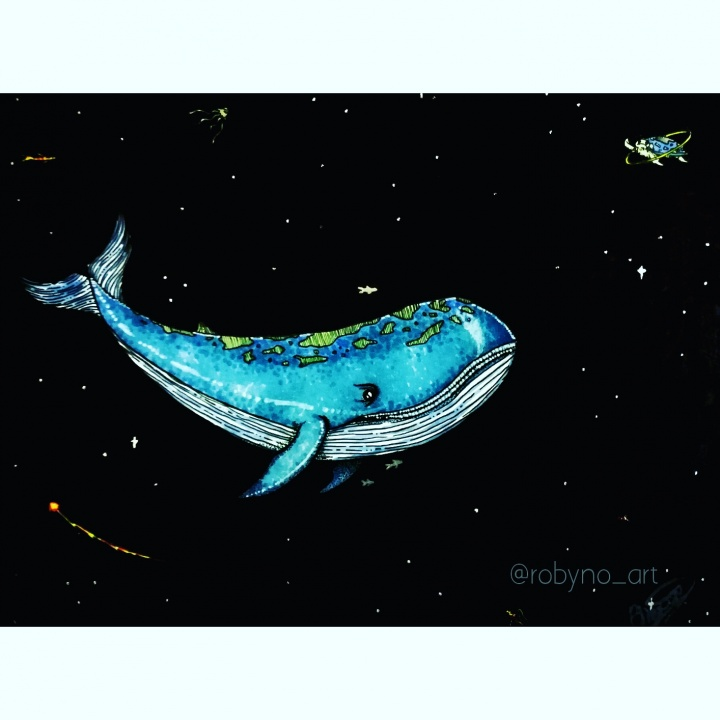Illustrated Story. A planet whale floats through space