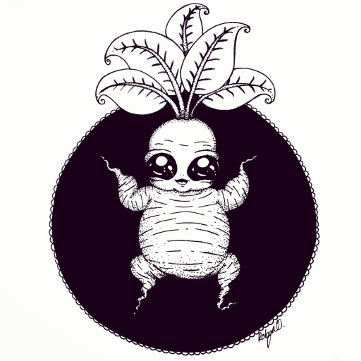 Illustration of a mandrake root baby