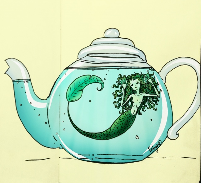 Illustration of a mermaid trapped in a glass teapot