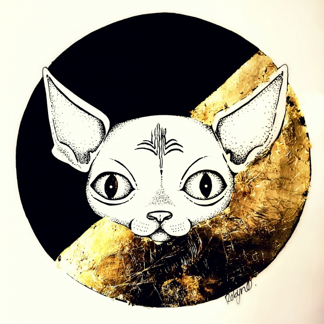 Artwork of Baphomet the sphynx cat