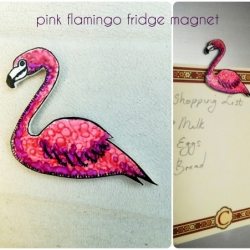 Handmade Acrylic and Resin Pink Flamingo Fridge Magnet