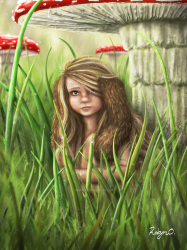 Digital Painting of a fae changeling hiding from the rain under a mushroom