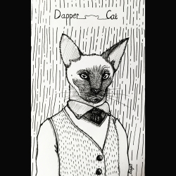 Ink drawing of a dapper cat
