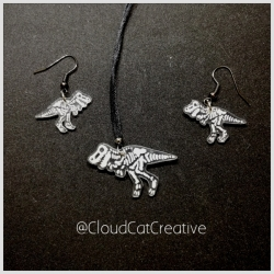 T-Rex necklace and earring set