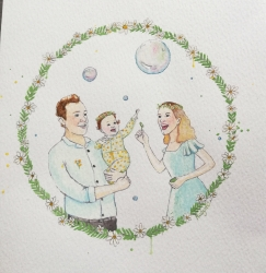 Watercolour family portrait